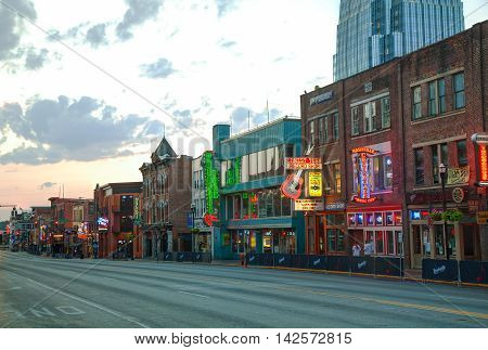NASHVILLE - AUGUST 28: Downtown Nashville on August 28 2015 in Nashville TN. Nashville is the capital of the State of Tennessee and the county seat of Davidson County.