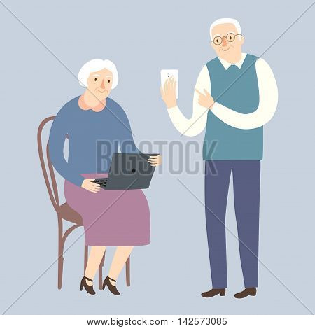 Lovely cartoon grandparents using internet on gadgets and computers. Vector illustration for your design.