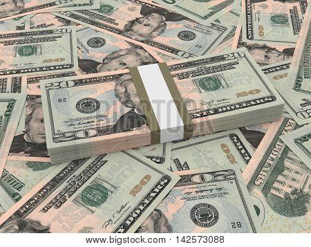 Bundle Of Twenty Dollars Bank Notes On The Background.