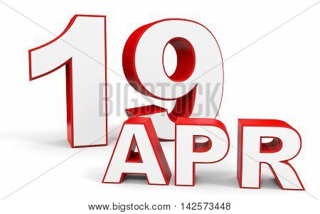 April 19. 3D Text On White Background.
