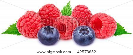 Five ripe raspberries in a line with two blueberries and green leaves isolated on white background with clipping path