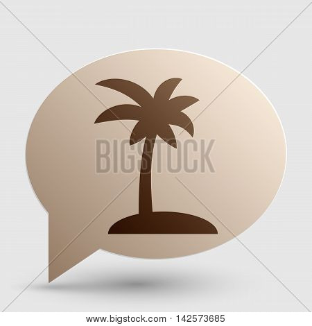 Coconut palm tree sign. Brown gradient icon on bubble with shadow.