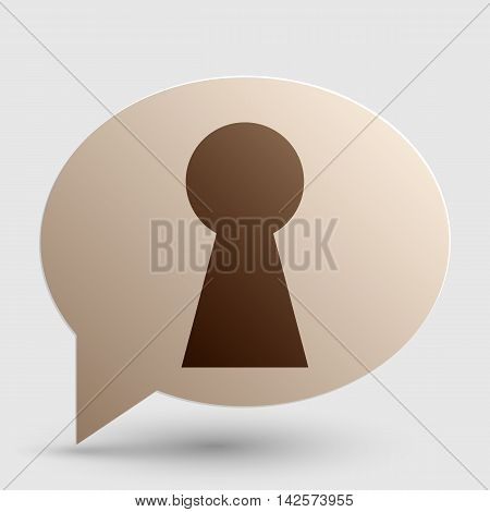 Keyhole sign illustration. Brown gradient icon on bubble with shadow.