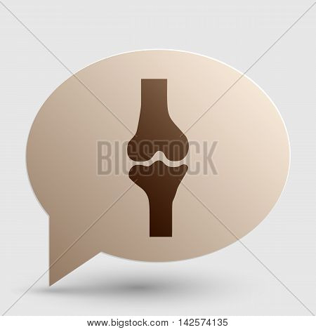 Knee joint sign. Brown gradient icon on bubble with shadow.