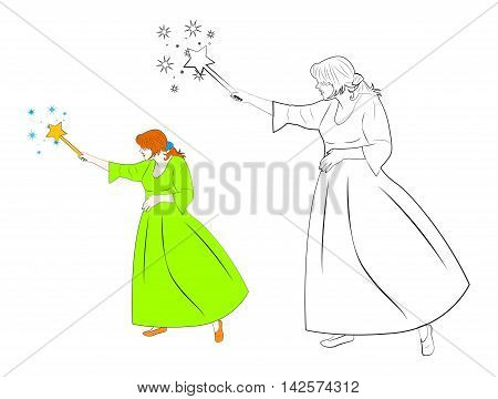 Pretty fairy in green dress creates magic with the help of a magic wand. Cartoon vector illustration