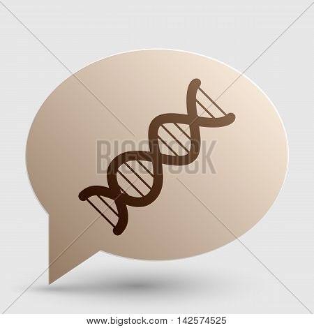 The DNA sign. Brown gradient icon on bubble with shadow.