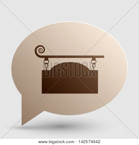 Wrought iron sign for old-fashioned design. Brown gradient icon on bubble with shadow.