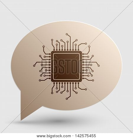CPU Microprocessor illustration. Brown gradient icon on bubble with shadow.