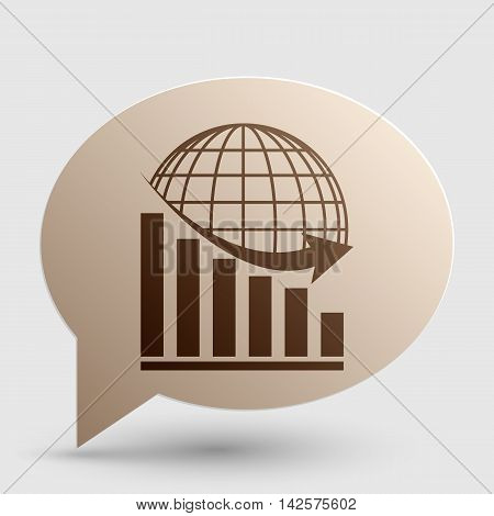 Declining graph with earth. Brown gradient icon on bubble with shadow.