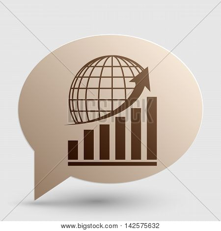 Growing graph with earth. Brown gradient icon on bubble with shadow.