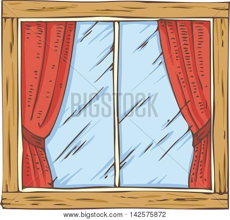 Wooden Window with Red Curtain. Hand Drawn Illustration