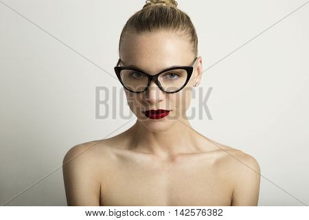 Portrait Handsome Pretty Young Lady Red Lips Wearing Black Classic Glasses White Color Empty Background.Beauty Loveliness Fashion People Photo.Sexy Woman Smiling Camera.Studio Shot.Horizontal Image