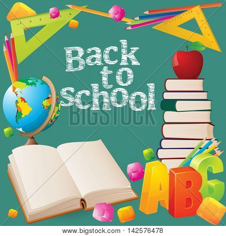 Welcome back to school sale background with blackboard, books, globe, abc, red apple, and color pencils. Vector illustration.