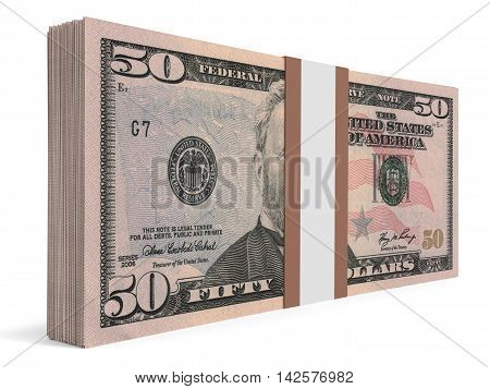 Pack Of Banknotes. Fifty Dollars.