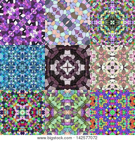 Set of glass mosaic kaleidoscopic seamless generated texture