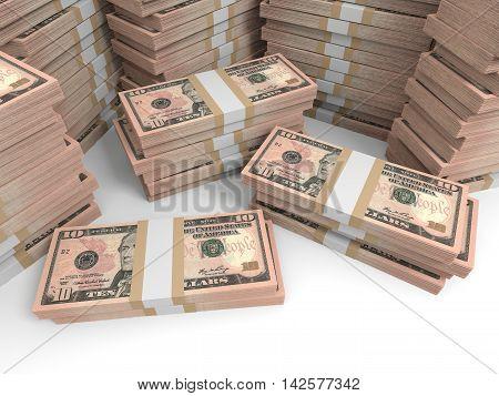 Ten dollar banknotes on white background. 3D illustration.