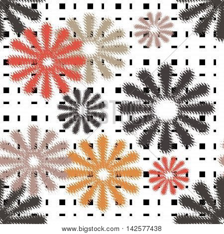Seamless flowers retro pattern with stripes background
