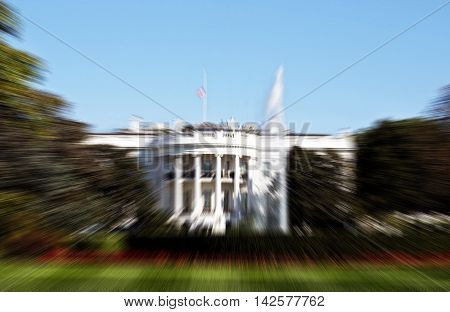 Blurred Washington White House background with room for your type.