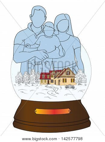 family silhouette standing on a snow ball. Christmas composition. vector illustration