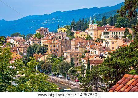 Town of Volosko in Kvarner bay view Primorje region of Croatia