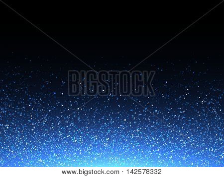 Blue glitter spray texture background. Vector glittering particles of crystal snowflakes on black. Cosmic light shine dispersion