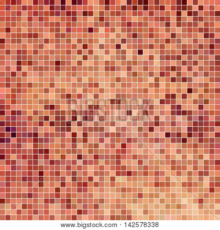 abstract vector square pixel mosaic background - light red
