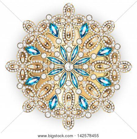Mandala brooch jewelry, design element.  Geometric vintage ornam