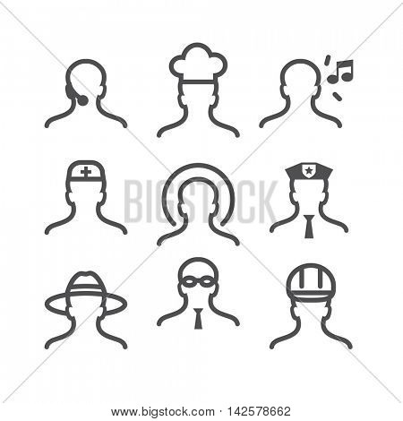 Human avatar thin line set: operator, cook, music lover, doctor, saint, police officer, traveler, office manager,  worker