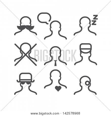 Human avatar thin line set: mustache, thinking, sleeping, no man, office manager, postman, detective, felt in love, one eye
