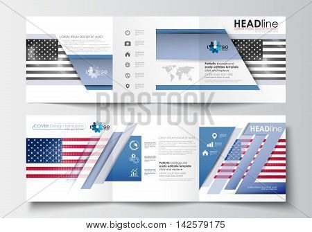 Set of business templates for tri-fold brochures. Square design. Leaflet cover, abstract flat layout, easy editable blank. Patriot Day background with american flag, vector illustration.