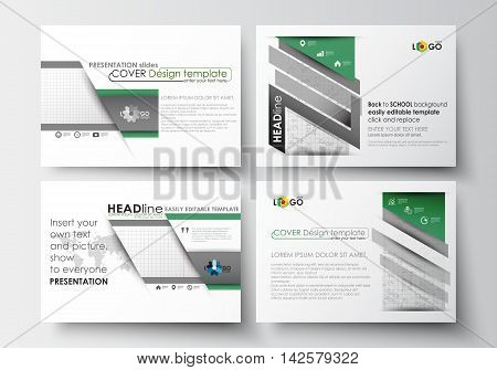 Set of business templates for presentation slides. Easy editable abstract layouts in flat design. Back to school background with letters made from halftone dots, vector illustration.