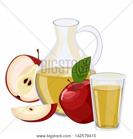 Full jug of apple juice, isolated on white vector set. Glass jug of apple juice fruit fresh beverage natural red organic vitamin. Vector set fresh and cold apple juice healthy fruit drink