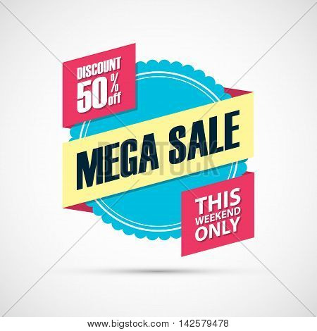 Mega Sale, this weekend special offer banner, discount 50% off. Vector illustration.