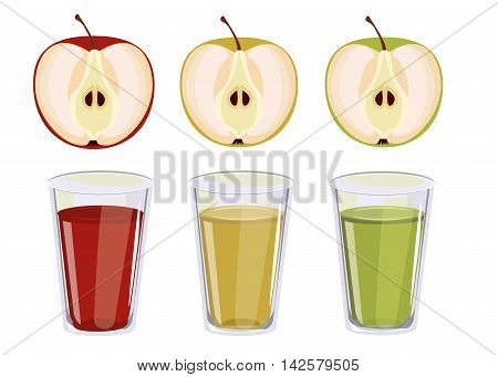 Three glasses with apple juice. Red, yellow and green apple juice. Glass jug of apple juice fruit fresh beverage natural red organic vitamin. Vector set fresh and cold apple juice healthy fruit drink.