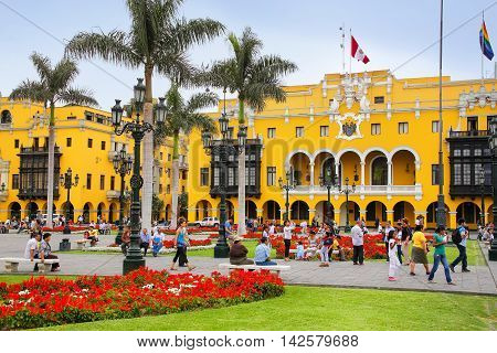 Lima, Peru-january 31: Plaza Mayor In Historic Center On January 31,2015 In Lima, Peru. It Is Surrou