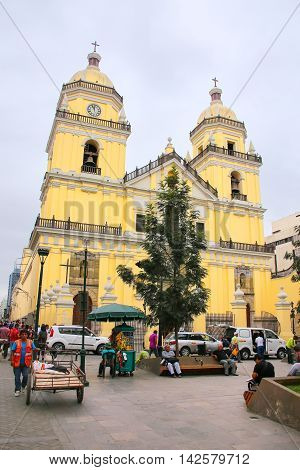 Lima, Peru-february 2: Saint Peter Church On February 2, 2015  In Lima, Peru. This Church Is Part Of
