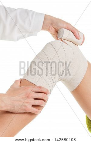 Flexible elastic supportive orthopedic bandage with white background compression stabilizer knee.