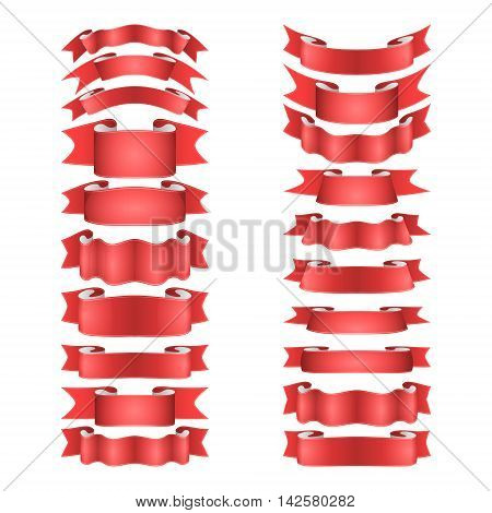 isolated vector colored satin ribbons set - red