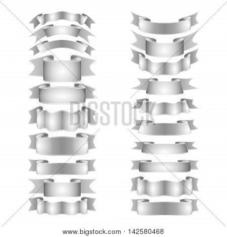 isolated vector colored satin ribbons set - silver