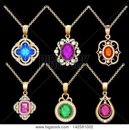 illustration set of necklace pendants jewelry made of precious s