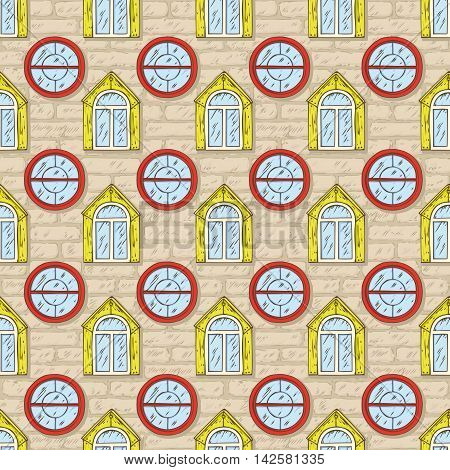 Seamless Vector Pattern. Beige Brick Wall with Red and Yellow Windows. Hand Drawn Illustration