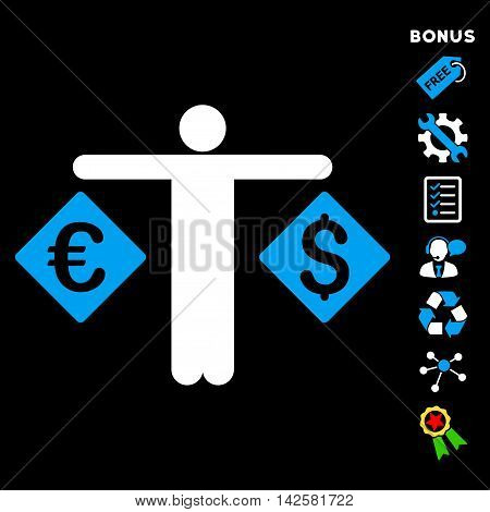 Currency Trader icon with bonus pictograms. Vector illustration style is flat iconic bicolor symbols, blue and white colors, black background, rounded angles.