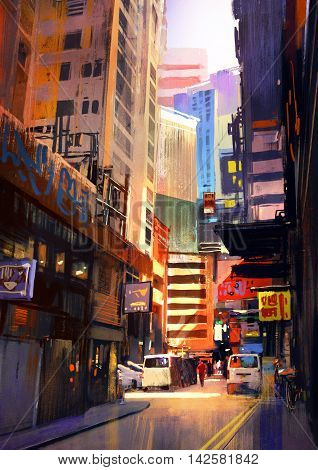 urban street with buildings city alleyway, colorful painting, illustration