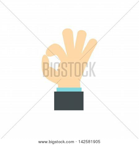Gesture okay icon in flat style isolated on white background. Gestural symbol