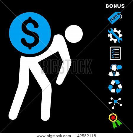 Financial Courier icon with bonus pictograms. Vector illustration style is flat iconic bicolor symbols, blue and white colors, black background, rounded angles.