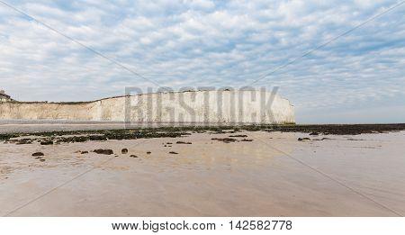 Popular White Cliff Birling Gap Atlantic Ocean Coast, West Sussex, England, United Kingdom
