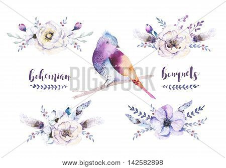 Set of watercolor vintage floral bouquets bird with feather. Boho natural spring flower rose and leaf frame isolated on white background. Bohemian autumn chic.