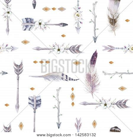 Watercolor boho seamless pattern with teepee arrows and feathers. Decoration native tribal print.Bohemian Aztec tomahawk ethnic design. watercolour art wallpaper. Isolated on white.