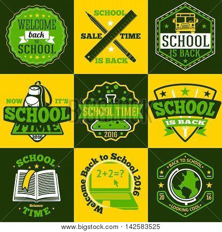 School labels set. With schoolbus, book, backpack, pencils ruler globe etc