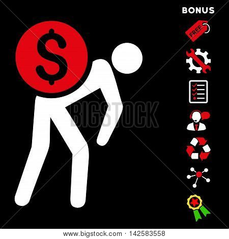 Financial Courier icon with bonus pictograms. Vector illustration style is flat iconic bicolor symbols, red and white colors, black background, rounded angles.